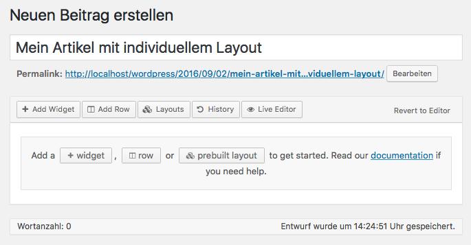 WordPress - Beitrag - Page Builder
