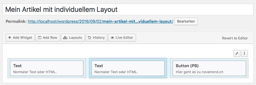 WordPress - Page Builder - Zeile