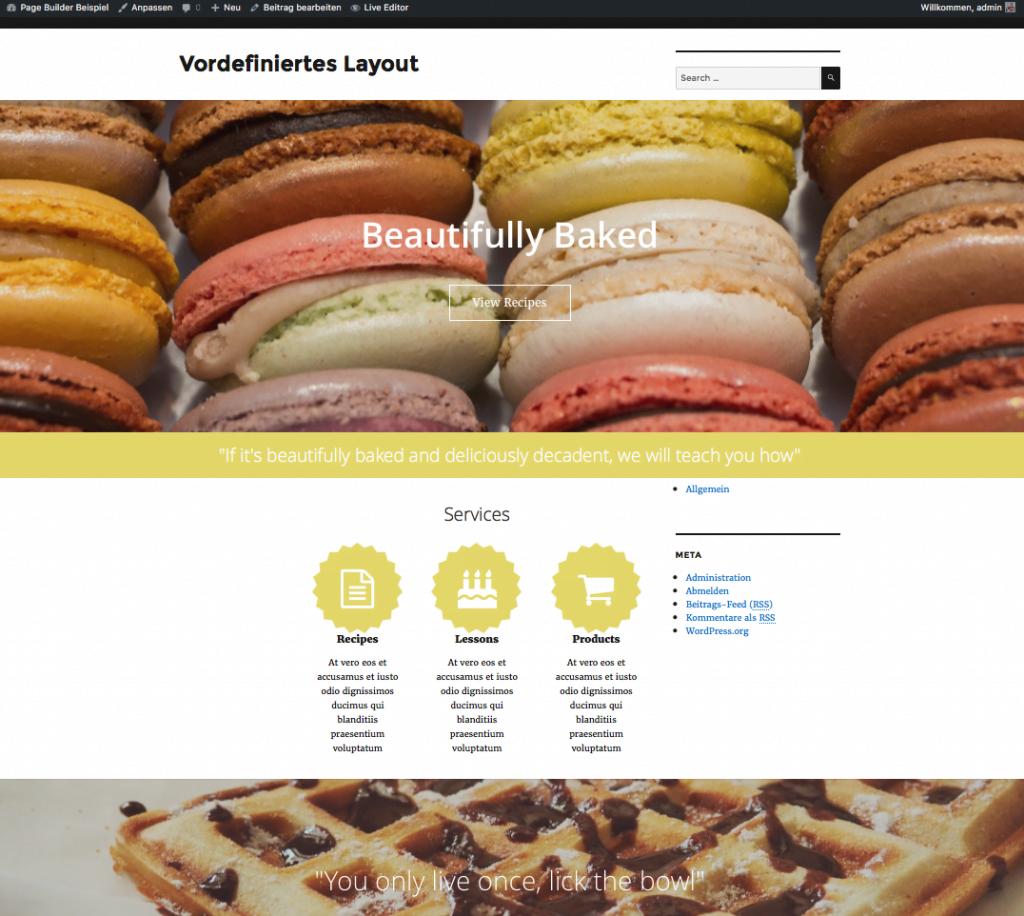 WordPress - Page Builder - vordefiniertes Layout