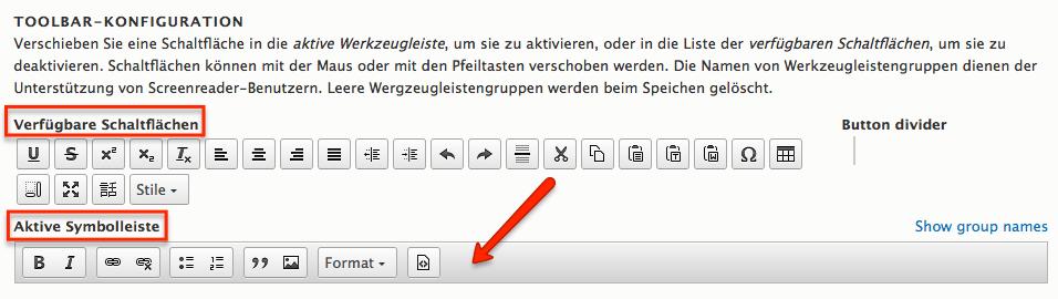CKEditor Toolbar Konfiguration