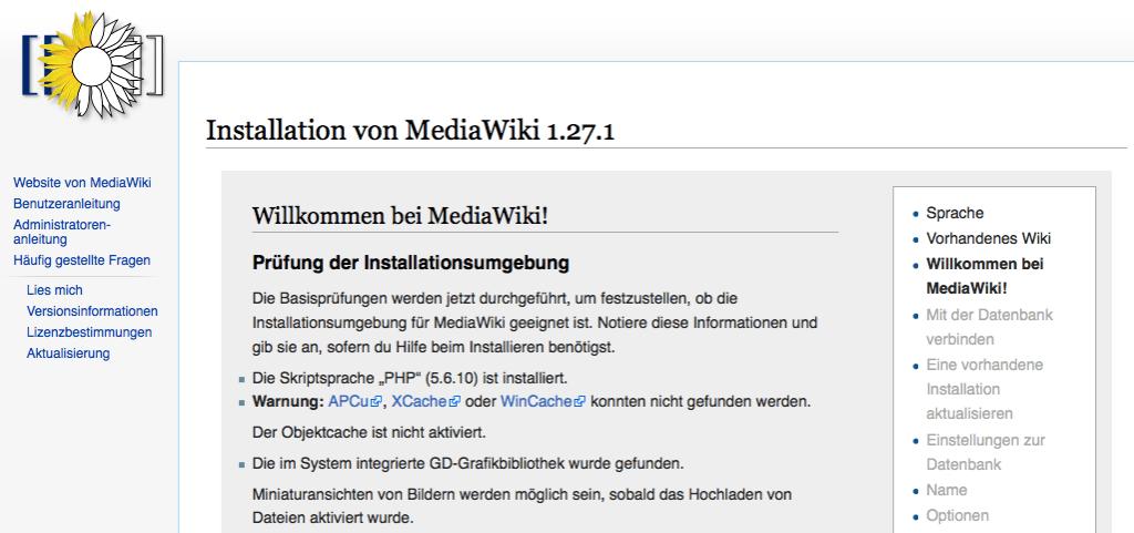 MediaWiki Installation - Systemvoraussetzungen