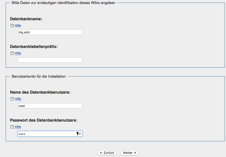 MediaWiki Installation - Datenbank einrichten