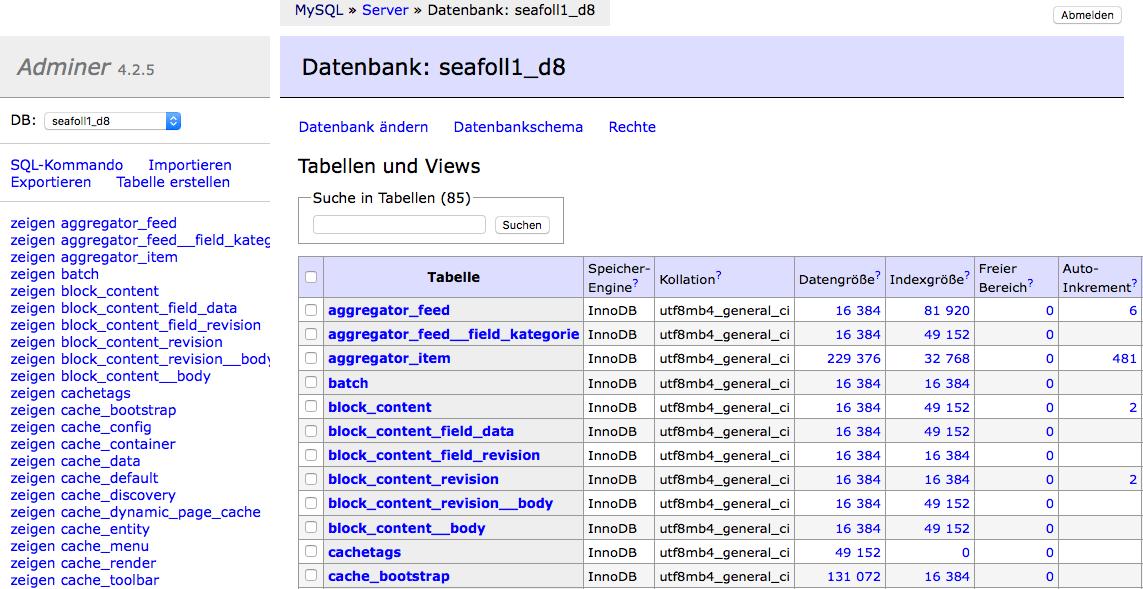 Datenbankverwaltung in einer Datei – Adminer
