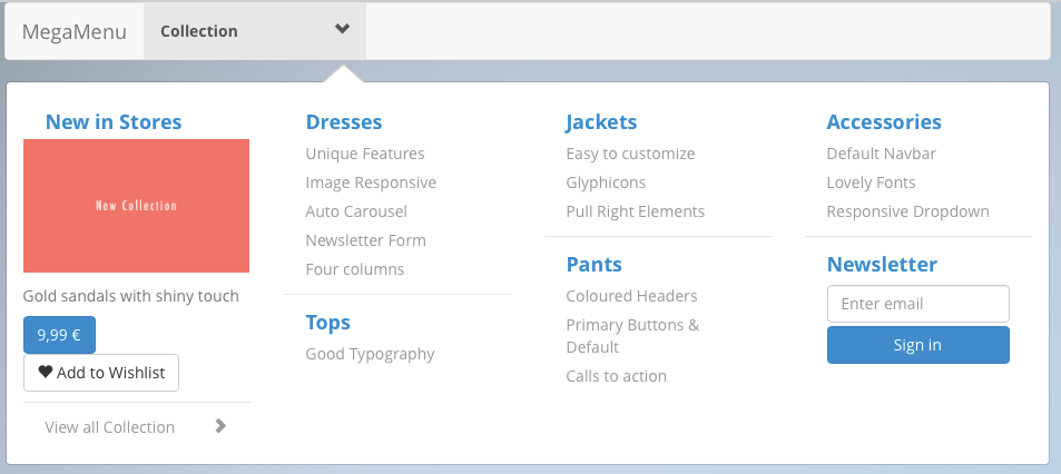 Mega Menu in Bootstrap