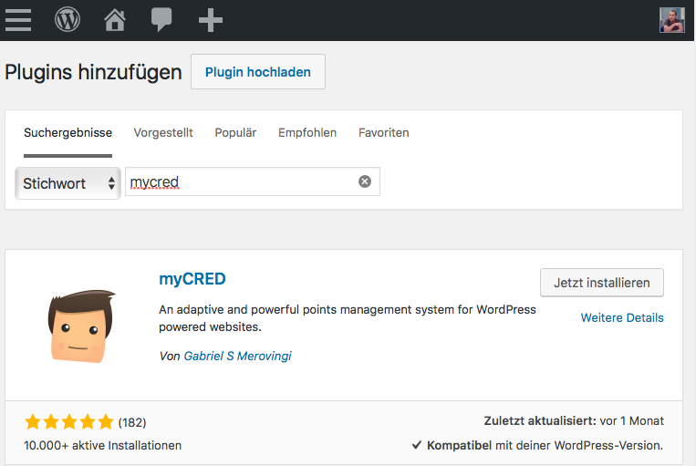 Installation myCRED