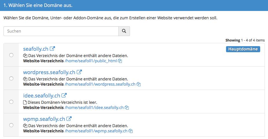 Domain auswählen