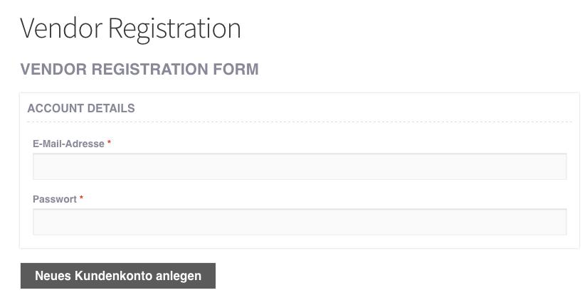 Verkäufer Registrierung