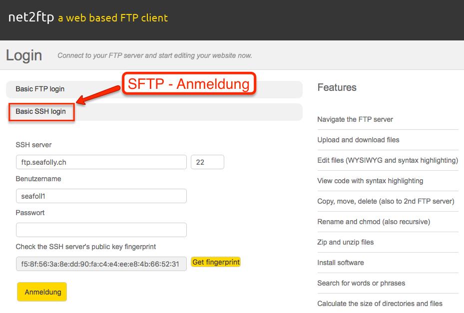 net2ftp - SSH Anmeldung