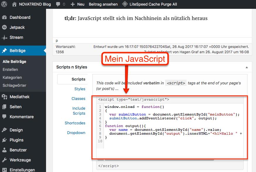 Wordpress Artikel mit zusätzlichem JavaScript
