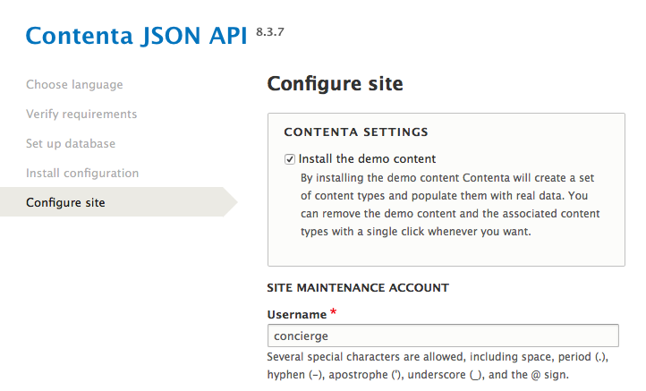 Konfiguration - Demo-Content