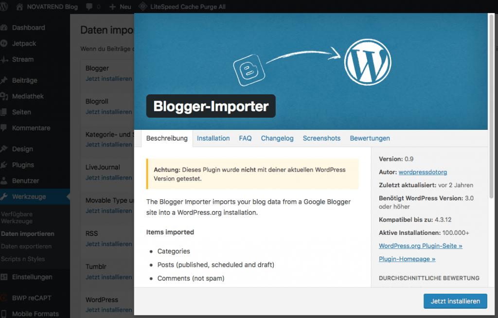 Details des Blogger Import-Details