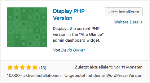 WordPress - Display PHP-Version