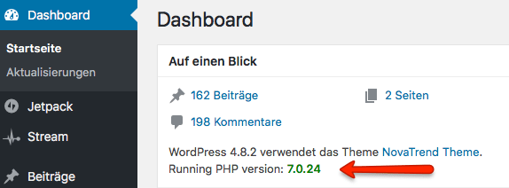 WordPress - PHP-Version