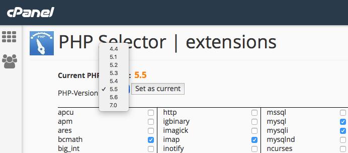 cPanel PHP-Version wählen