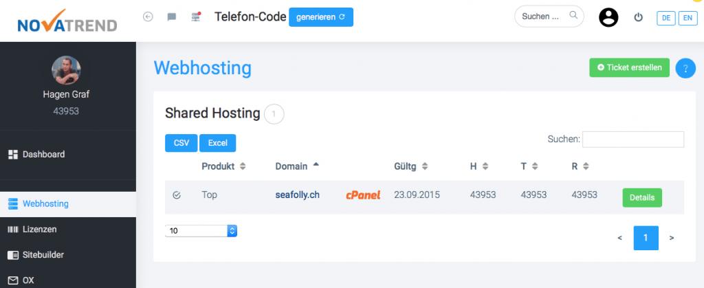 Kundenbereich - Webhosting