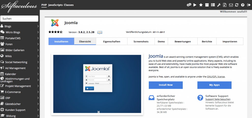 Softaculous - Joomla
