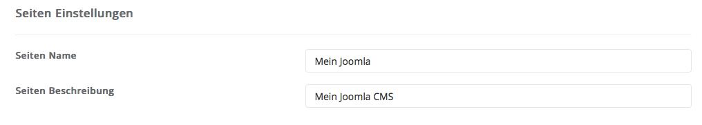 Joomla - Site Einstellungen