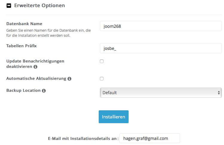 Joomla -erweiterte Optionen