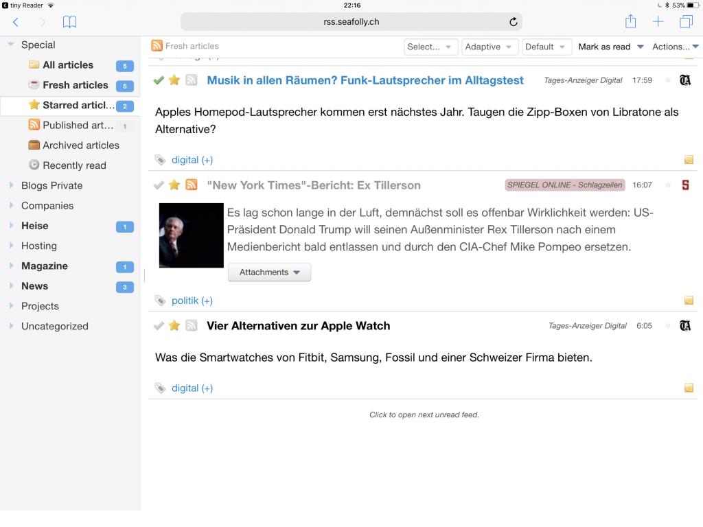 Browserversion Tiny Tiny RSS mit Verwaltung für Feeds