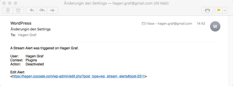 Benachrichtigung per E-Mail