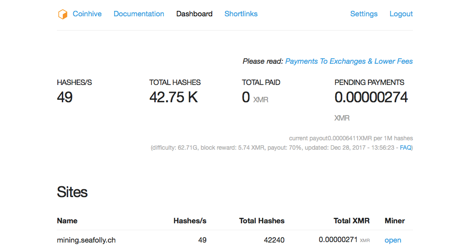Coin Hive Dashboard