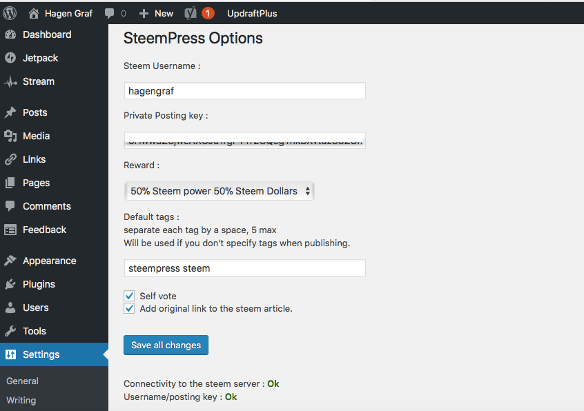 Steem Press Options