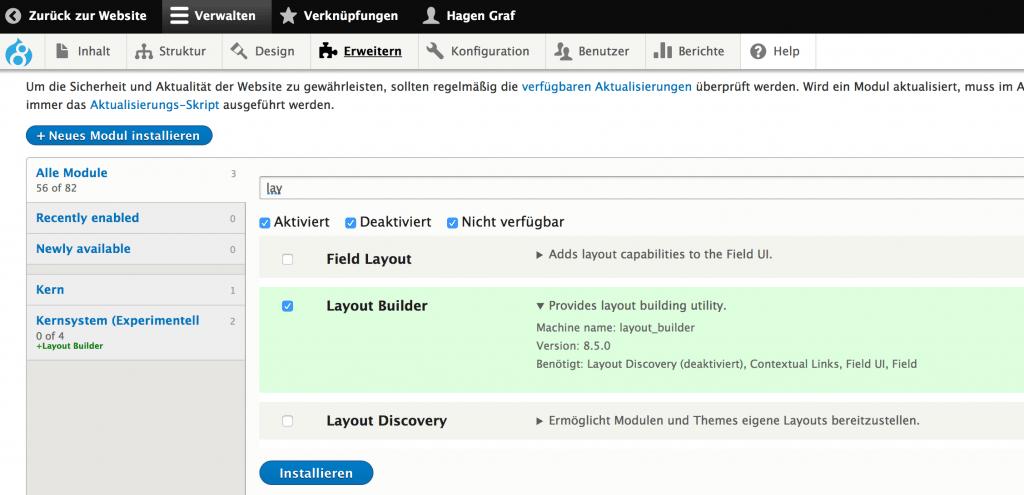 Aktivierung des Layout Builder Moduls in Drupal 8.5