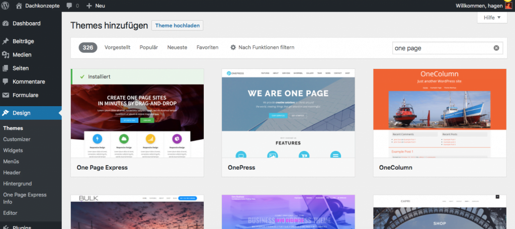 WordPress Themes hinzufügen