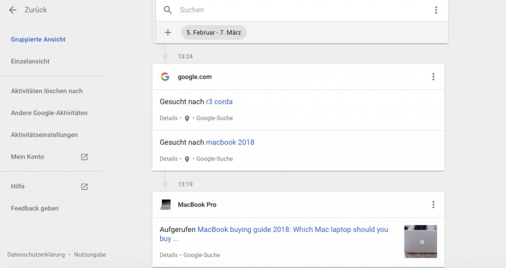 Gespeicherte Aktivität auf Google