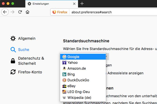 Firefox Suche