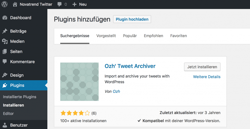 ozh Tweet Archiver Plugin