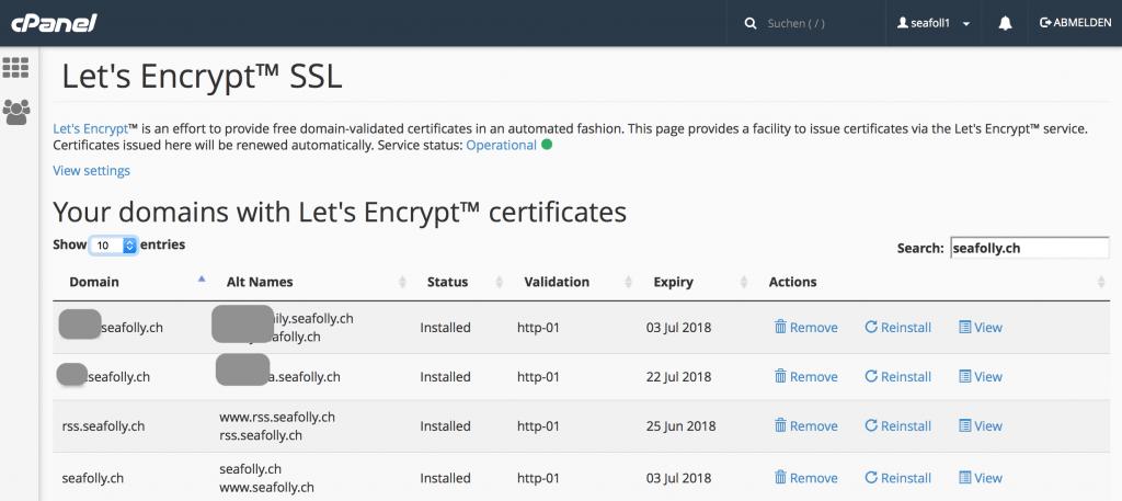 Domains mit Zertifikat