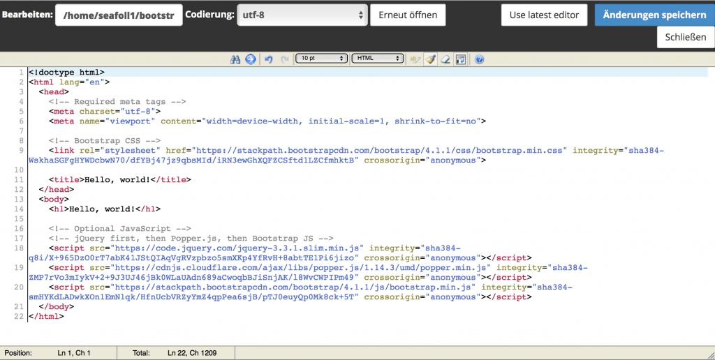 Starter-Template im cPanel Editor