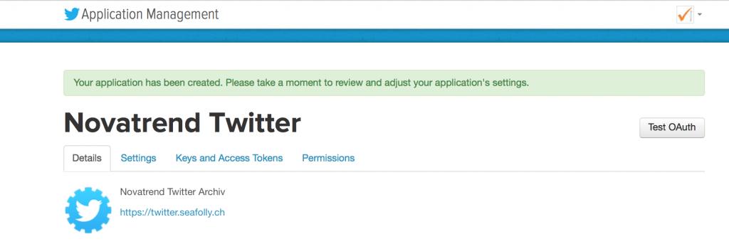 Twitter App erstellt