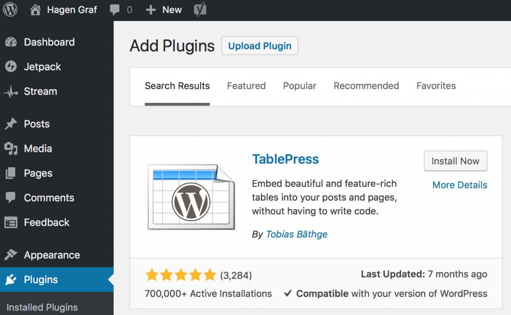 WordPress - TablePress