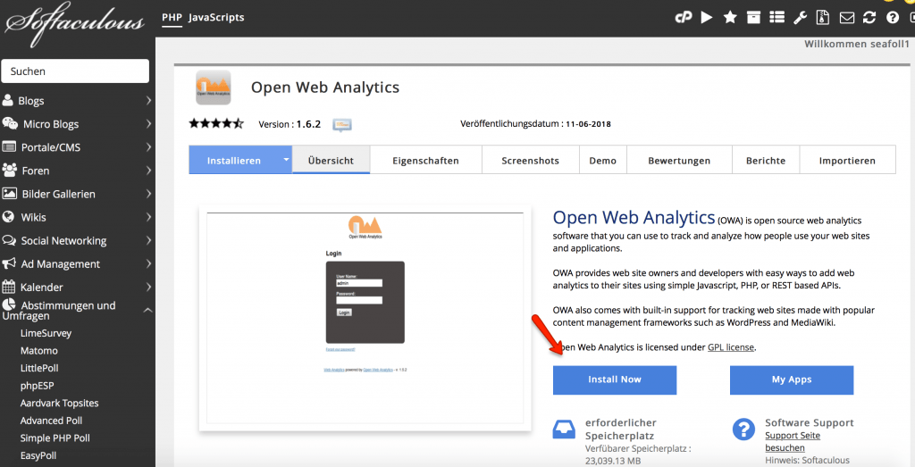 Softaculous - Open Web Analytics