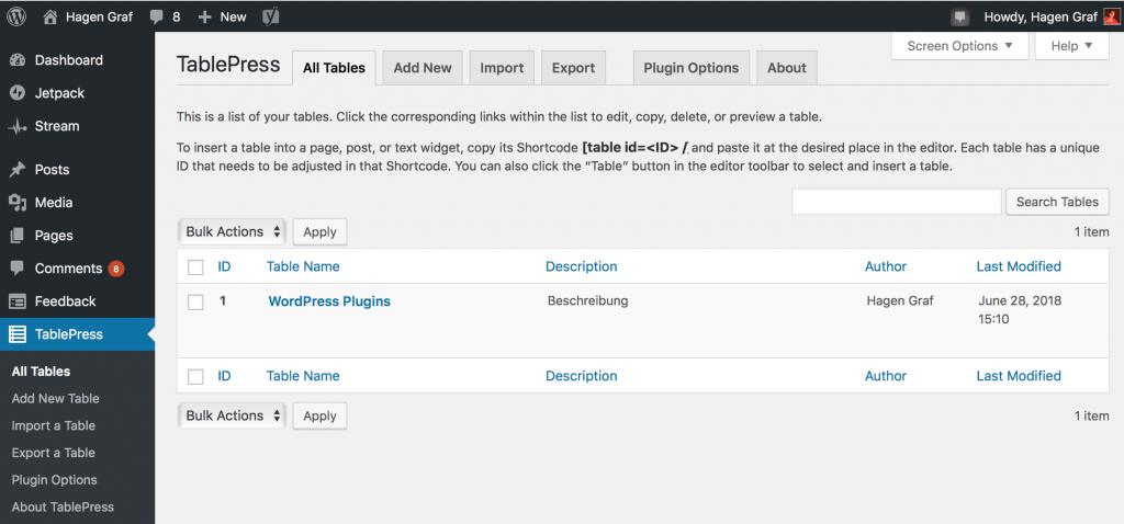 WordPress - TablePress - Tabellen