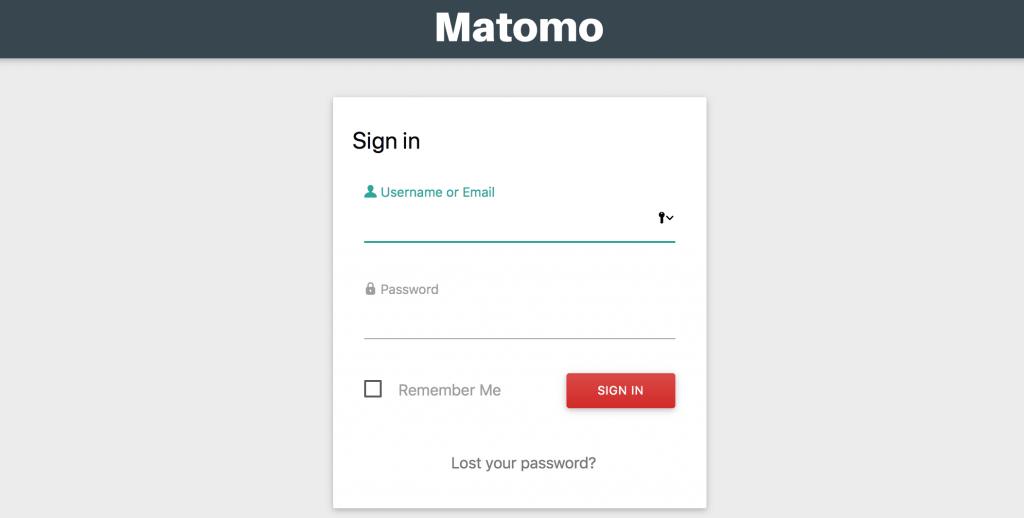 Matomo - Anmeldung