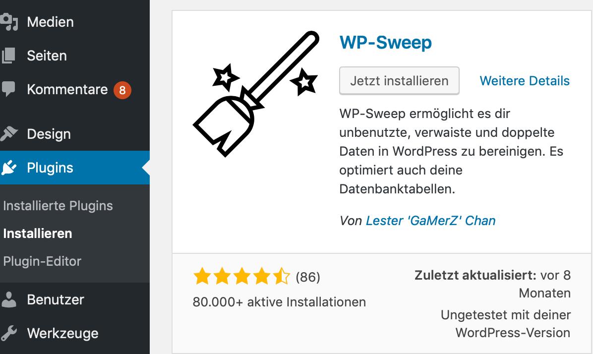 WordPress aufräumen mit WP-Sweep